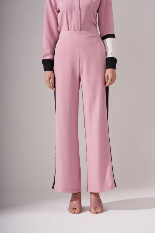 Şeritli Gül Kurusu Pantolon