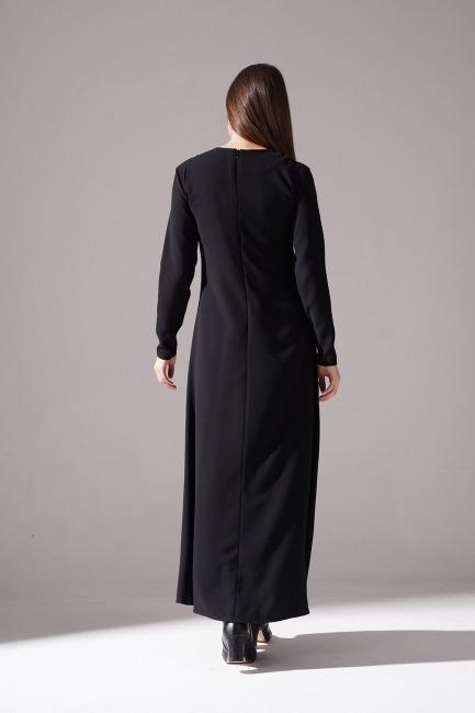Yanı Üç Şeritli Siyah Elbise - Thumbnail