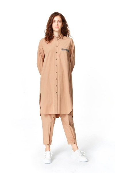 MIZALLE Tunic With Pocket Details (Camel)