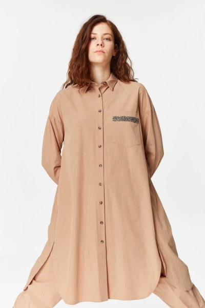 Yanı Yırtmaçlı Cep Detaylı Tunik (Camel) - Thumbnail