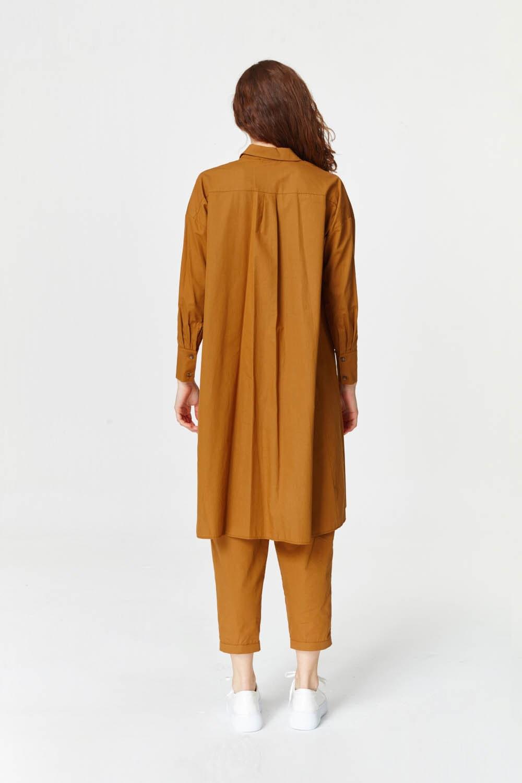 Yanı Yırtmaçlı Cep Detaylı Tunik (Hardal)