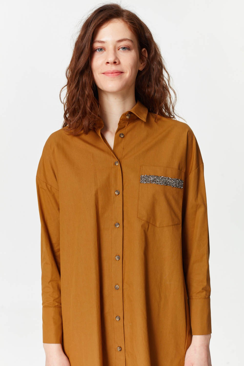 MIZALLE Tunic With Pocket Details (Mustard) (1)