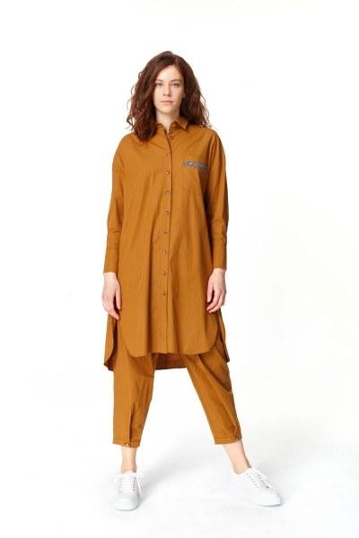 MIZALLE Yanı Yırtmaçlı Cep Detaylı Tunik (Hardal)