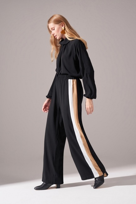 Yanları Şeritli Krep Pantolon (Siyah) - Thumbnail