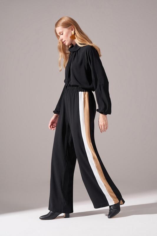 Yanları Şeritli Krep Pantolon (Siyah)