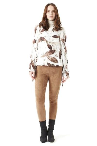 Mizalle - Yaprak Desenli Bluz (Ekru)