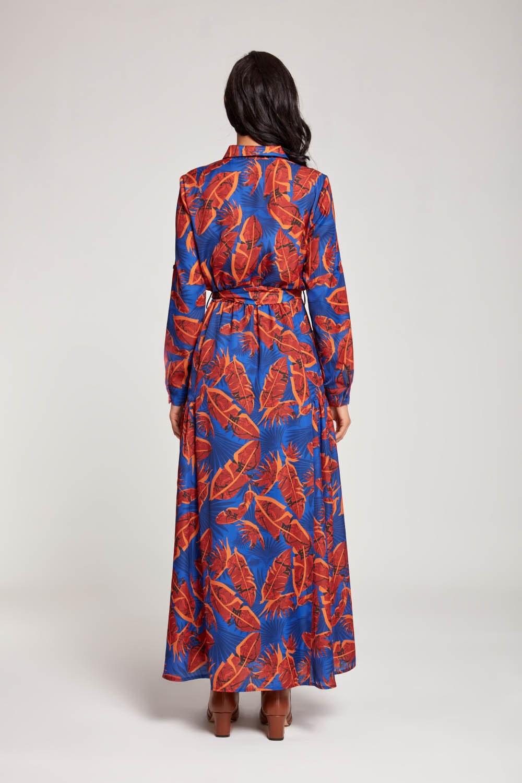 Yaprak Desenli Cepli Saks Elbise