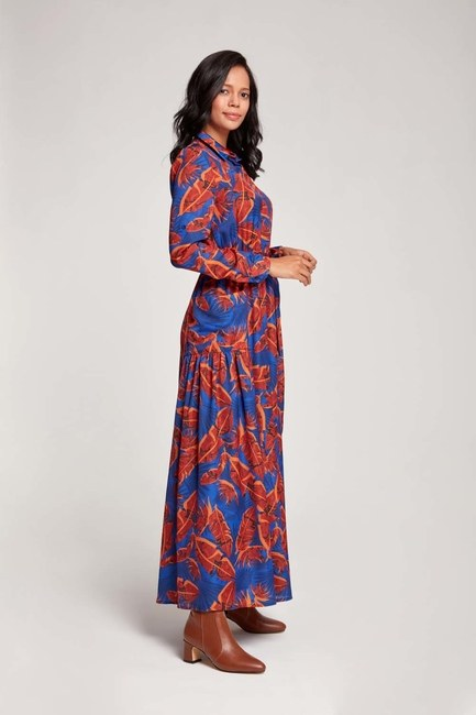 Yaprak Desenli Cepli Elbise (Saks) - Thumbnail