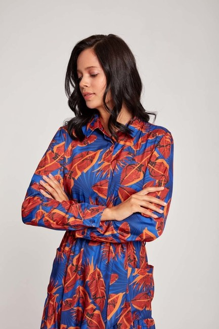 MIZALLE - Leaf Patterned Pocket Dress (Sax Blue) (1)