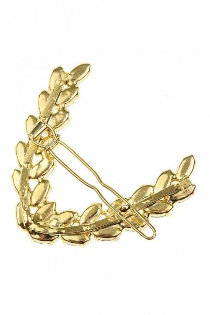 MIZALLE - ورقة منقوشة مشبك مع الحجر (الذهب) (1)