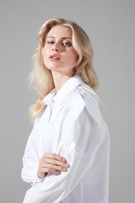 Yaprak Detaylı Poplin Gömlek (Beyaz) - Thumbnail