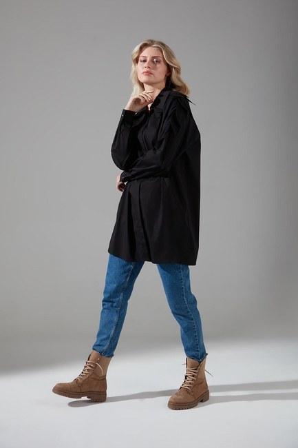 Mizalle - Yaprak Detaylı Poplin Gömlek (Siyah)