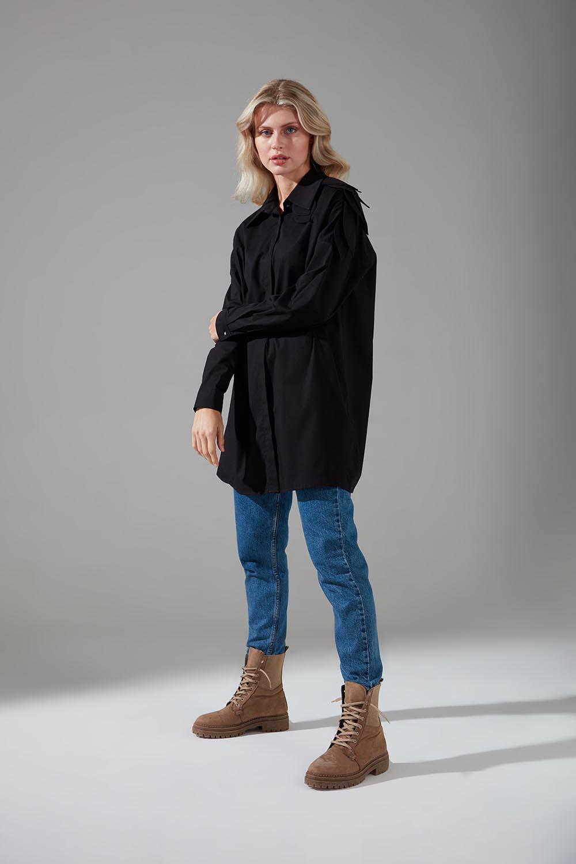 Yaprak Detaylı Poplin Siyah Gömlek