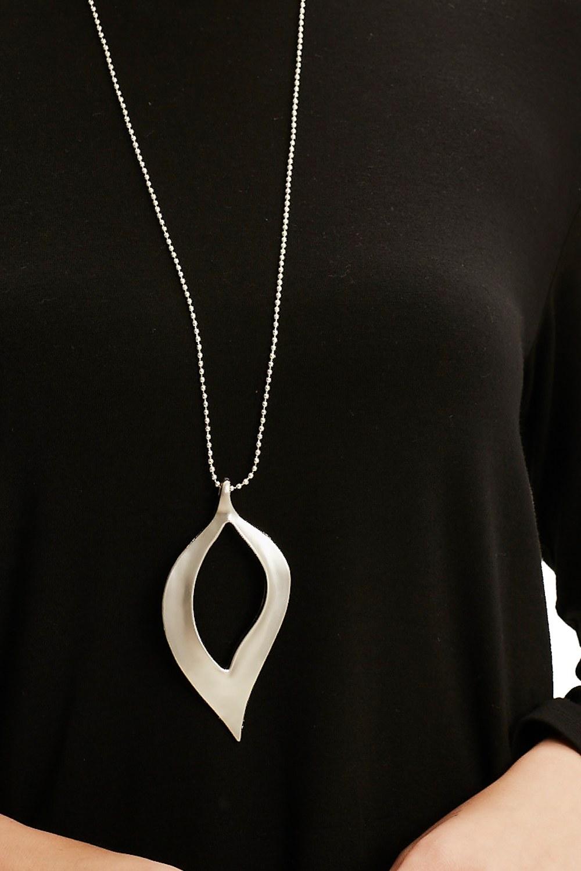 MIZALLE Yaprak Form Kolye (Silver) (1)