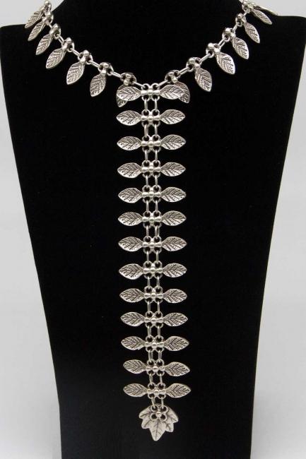 Yaprak Tasarım Antik Gümüş Kaplama Kolye - Thumbnail