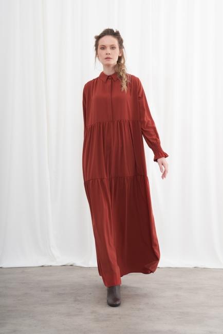 Mizalle - Yarım Patlı Kuşaklı Kiremit Elbise