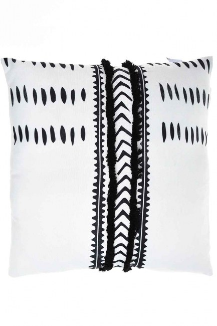 MIZALLE HOME Pillow Case (White/Navy Blue)