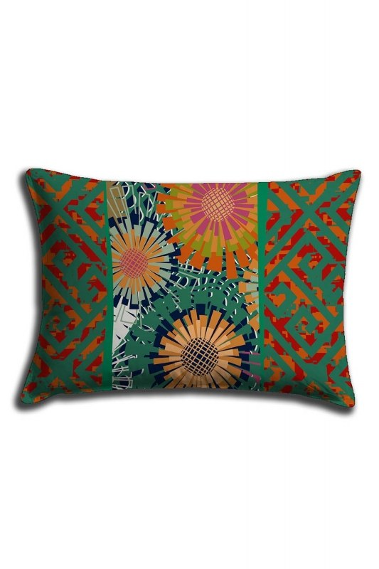 Digital Printed Green Patterns Lace Pillow Cover (30X50)