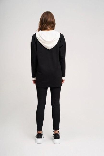 Yılan Baskılı Ön Cepli Sweatshirt (Siyah) - Thumbnail