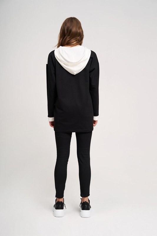 Yılan Baskılı Ön Cepli Sweatshirt (Siyah)