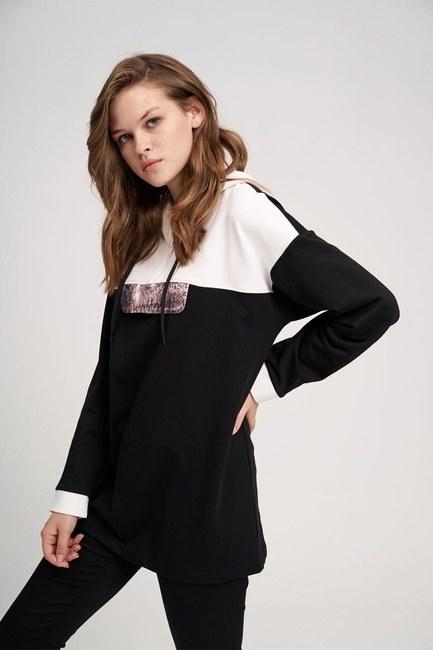MIZALLE YOUTH - Yılan Baskılı Ön Cepli Sweatshirt (Siyah) (1)