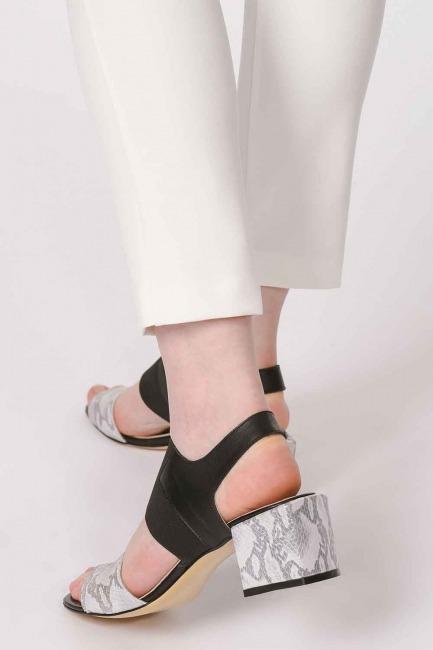 MIZALLE - Yılan Desenli Ayakkabı (Gri) (1)