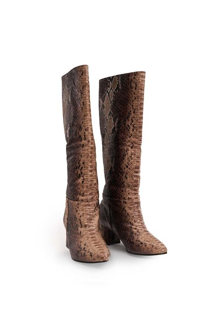 Yılan Desenli Çizme (Kahve) - Thumbnail