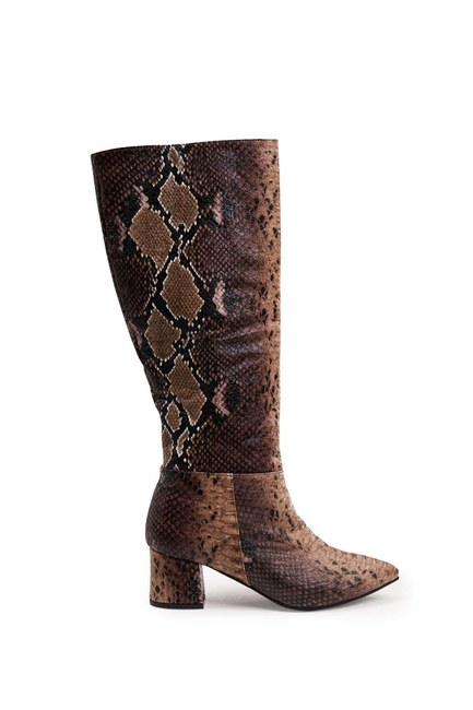MIZALLE - Snake Patterned Boot (Brown) (1)