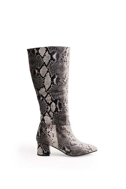 MIZALLE - Yılan Desenli Çizme (Siyah) (1)