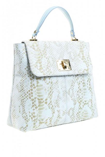حقيبة جلد ثعبان منقوشة (أزرق) - Thumbnail