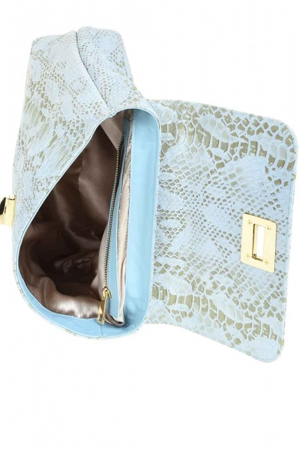 Snake Patterned Leather Clutch Bag (Blue) - Thumbnail