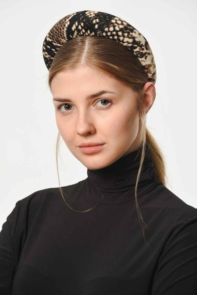 MIZALLE - Snake Patterned Hair Crown (Brown) (1)