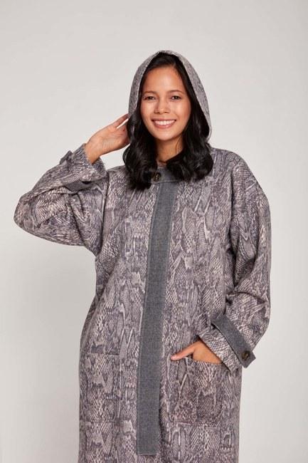 MIZALLE - Snake Patterned Wool Coat (Grey) (1)