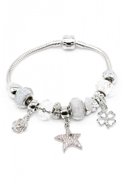MIZALLE - Star Shaped Bracelet (White) (1)