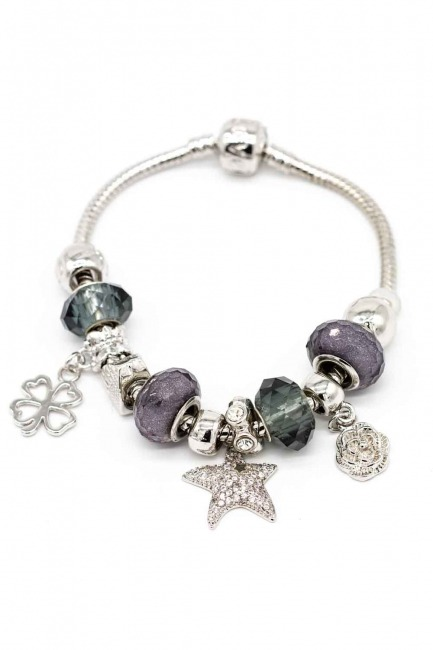 MIZALLE Star Shaped Bracelet (Grey)