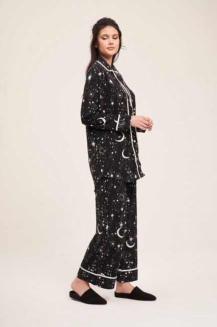 Mizalle - Yıldız Pijama Takımı (Siyah)