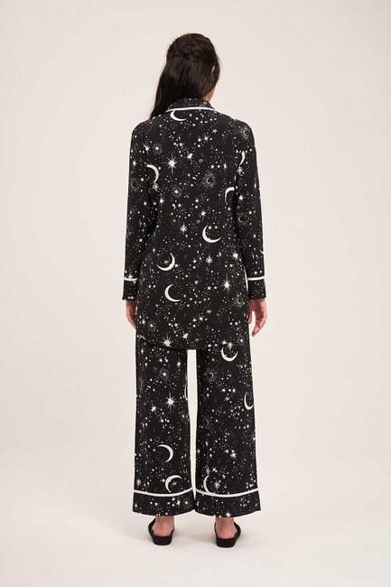 Yıldız Pijama Takımı (Siyah) - Thumbnail