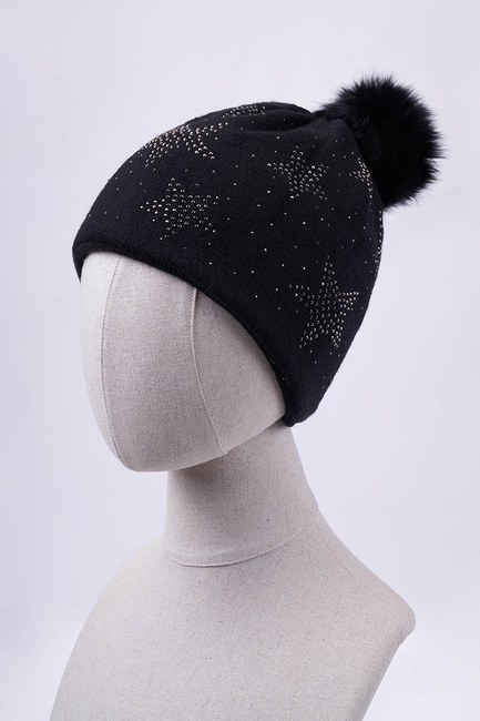 Mizalle - Yıldız Taşlı Ponponlu Bere (Siyah)