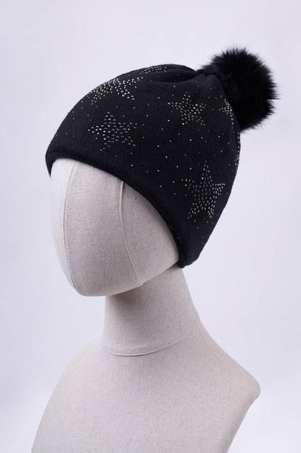 MIZALLE - Yıldız Taşlı Ponponlu Bere (Siyah) (1)
