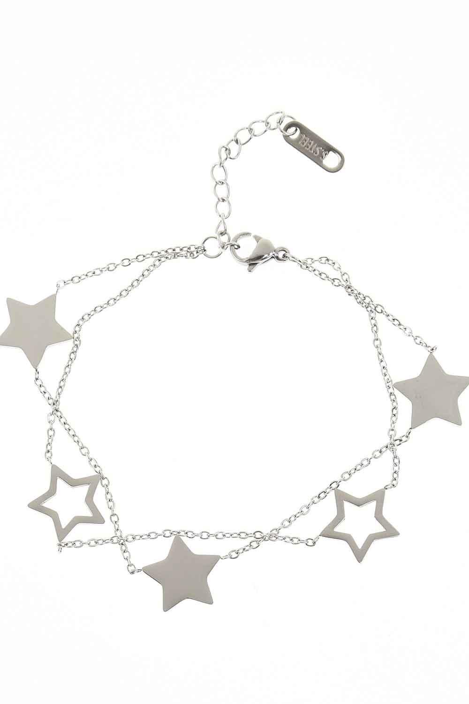 MIZALLE Yıldızlı Çelik Bileklik (Silver) (1)