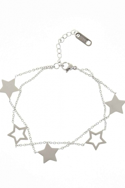 MIZALLE - Yıldızlı Çelik Bileklik (Silver) (1)