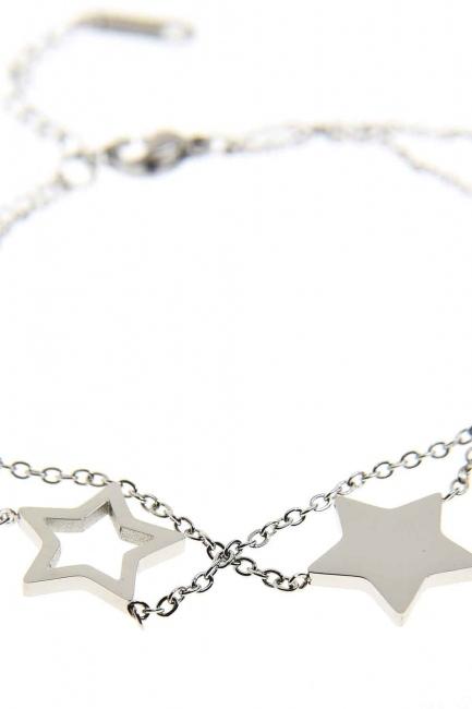 Yıldızlı Çelik Bileklik (Silver) - Thumbnail
