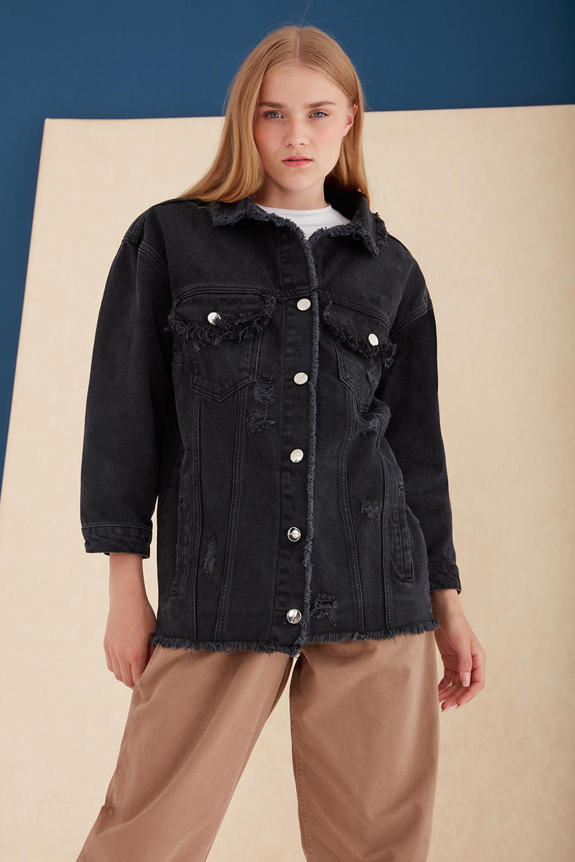 Yırtık Detaylı Oversize Siyah Kot Ceket