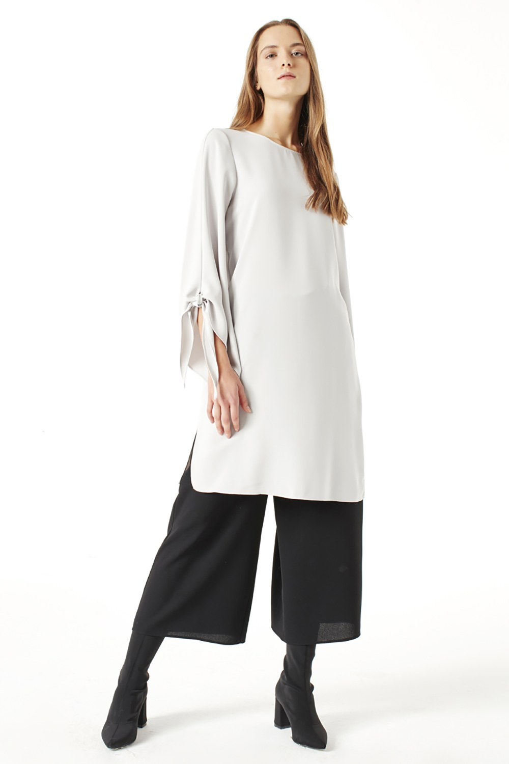 MIZALLE Slit Detailed Tunic (Grey) (1)