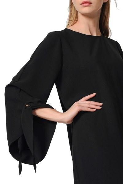Yırtmaç Detaylı Siyah Tunik - Thumbnail