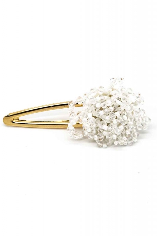 Clover Detailed Hair Clips (White)