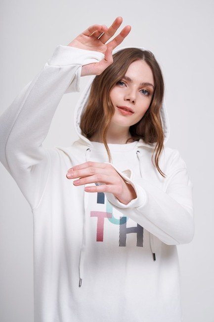 Youth Baskılı Sweatshirt (Ekru) - Thumbnail