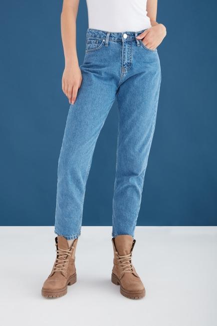 Mizalle - Yüksek Bel Mavi Mom Jean Pantolon