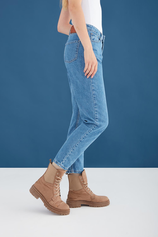 Yüksek Bel Mavi Mom Jean Pantolon