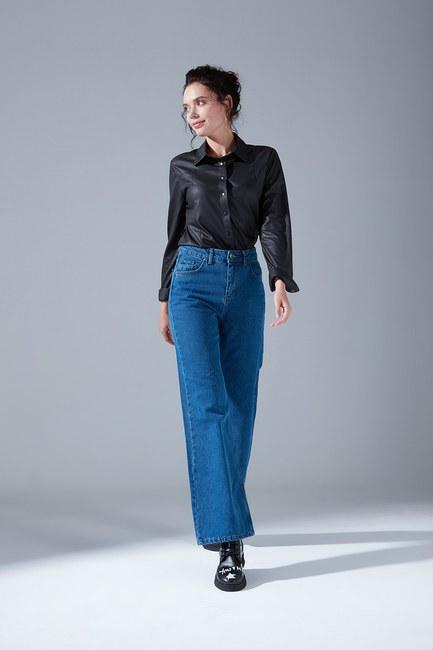 Mizalle - Yüksek Bel Mom Denim Pantolon (İndigo)